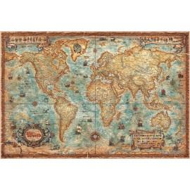 """Carte du monde moderne """"A l'antique"""""""