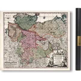Alte karte Bremen und Sachsen 1729