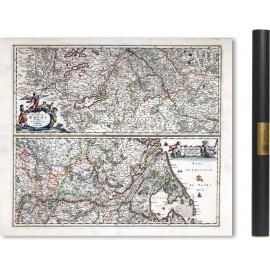 Alte Karte des Rheintals - 1863