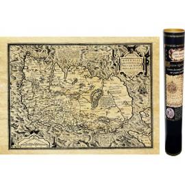 Irland. Karte von ANTICA veröffentlicht und auf Pergamentpapier reproduziert