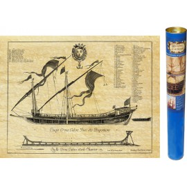 Galeerebene und -schnitt, antike Bootsgravur bearbeitet von ANTICA und reproduziert auf einem Pergamentpapier