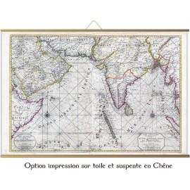Alte Karte des Indischen Ozeans, Madagaskar, Meeting Island oder Bourbon, Malediven, Indien Mapmaker