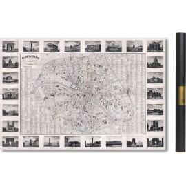 Carte des mondes anciens d'Homère, Aristote, Ptolémée, Strabon, et d'Erastothène en 1831