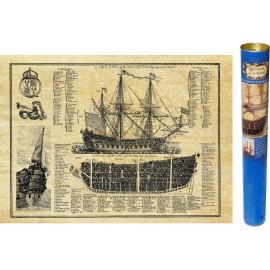 Englisch Schiff geschnitten und planen, antike Boot Gravur von ANTICA bearbeitet und auf Pergamentpapier reproduziert